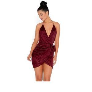 UK 6/US 2 XS-S Oh Polly Wine Satin Wrap Dress